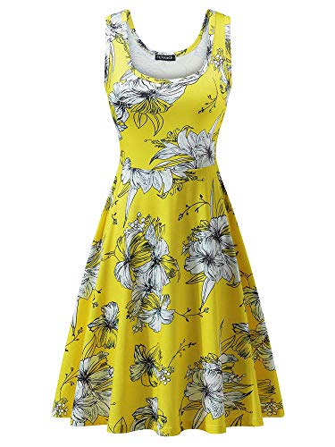 FENSACE Women's Sleeveless Midi Dress Casual Flared Tank Dress (Plus Women Size Skater Dress)