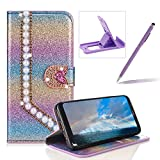 Diamond Wallet Leather Case for Galaxy Note 8,Flip Cover for Galaxy Note 8,Herzzer Luxury 3D Beaded Decor Heart Buckle Magnetic Rainbow Purple Glitter Stand Case with Inner Soft Rubber Case