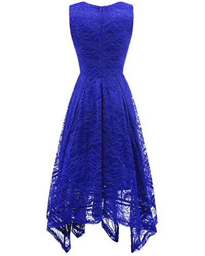 Cocktail bridesmay unregelmäßig Damen Spitzenkleid Elegant Brautjungfernkleider Blue Royal SaPEaqwW