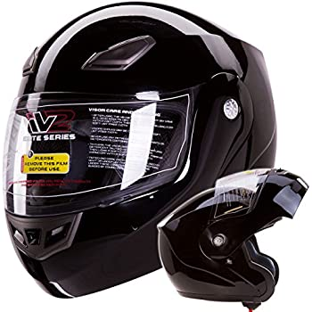Modular Flip up Motorcycle Helmet Gloss Black DOT #936 (Small)