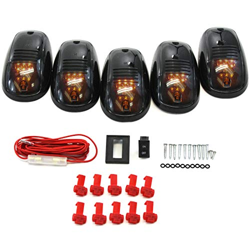 5 Piece Smoked Lens Amber LED Cab Roof Running Marker Light Set Compatible with Trucks SUVs RVs Off Road Complete Kit with Wiring Harness Switch & Hardware (Truck Wiring Complete Set)