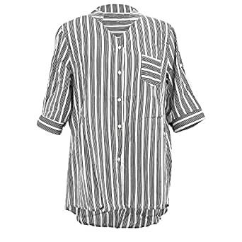 Wiwsi Women Fashion Striped Shirts Sexy V Neck Solid Tops Blouses Casual Clothes(Black,S)
