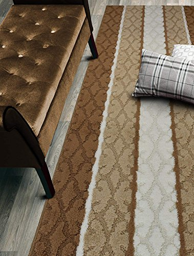 Custom Size Damask Hallway Runner Rug Slip Resistant, 26 Inch Wide x Your Choice of Length Size, Beige, 26 Inch X 17 feet