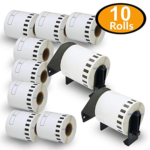 BETCKEY - Compatible DK-2212 Continuous 2-3/7 x 50 Matte Film Replacement Labels,Compatible with Brother QL Label Printers [10 Rolls + 2 Refillable Cartridge Frame]