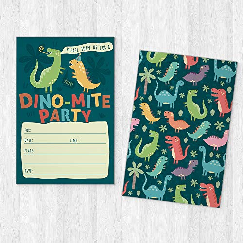Dinosaur Kids Party Invitation Cards - Lots of Fun with a Pun! 25 High Quality Invites with Envelopes for T-Rex Kids Party, Jurassic Birthday or a Dino Themed Baby Shower. by PartyGraphix (Image #4)