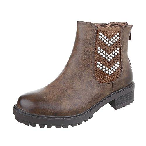Ital-Design Chelsea Boots Damenschuhe Blockabsatz Stiefeletten Braun LL98