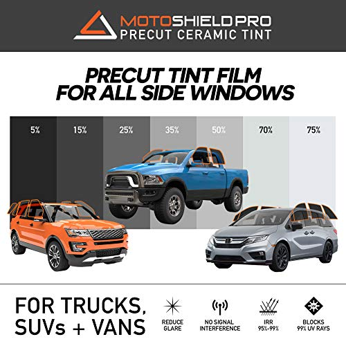 MotoShield Pro Precut Ceramic Tint Film [Blocks Up to 99% of UV/IRR Rays] Window Tint for Trucks, SUVs, Mini Van - All Side Windows Only, Any Tint Shade ()