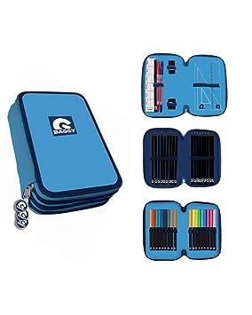 BAGGY- Estuche Plumier 3 Pisos con Material Escolar Completo, Color Azul (Astro AST3023)