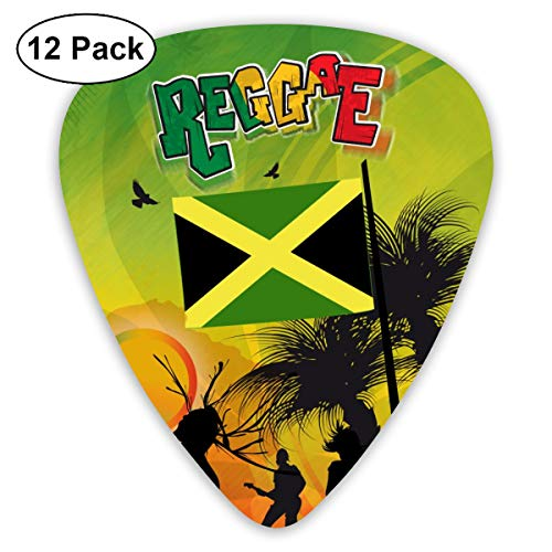 Hipster Jamaica Reggae Retro 351 Shape Classic Celluloid Guitar Pick For Electric Acoustic Mandolin Bass (12 Count)