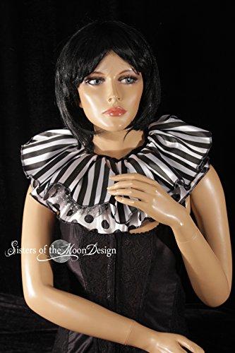 Elizabethan Dance Halloween Costumes - Black white clown striped & polka
