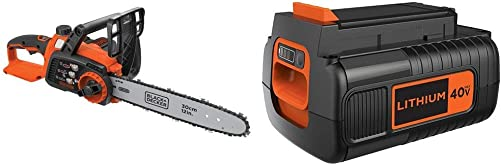 BLACK DECKER 40V MAX Cordless Chainsaw with Extra Battery, 2.0-Ah LCS1240 LBX2040