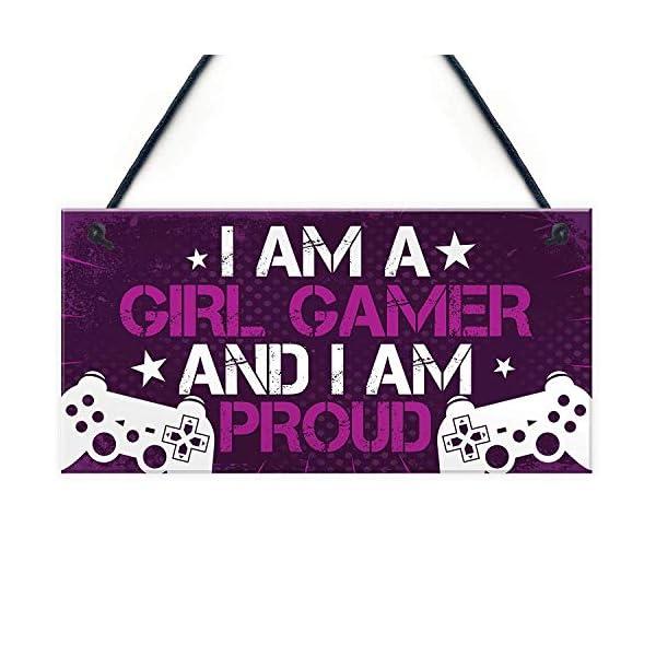 Meijiafei Gamer Gaming Gifts For Women Novelty Birthday Gift For Daughter Sister Girl Gamer Hanging Bedroom Room Sign 10 X 5