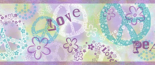 Love Wallpaper Border - Chesapeake TOT46381B Janis Purple Peace Love Toss Wallpaper Border