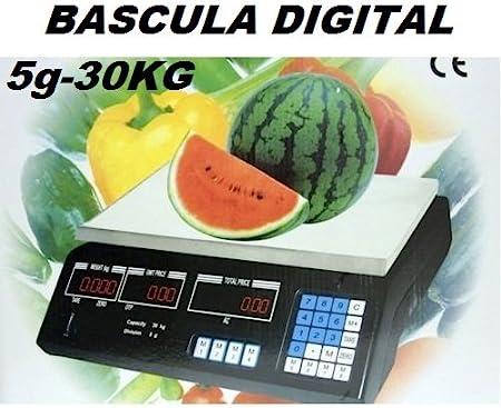 OFERTA! BASCULA DIGITAL COMERCIAL. BALANZA PESA DIGITAL ELECTRONICA PARA COMERCIO. 30KG. - GSH