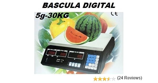 BASCULA DIGITAL COMERCIAL. BALANZA PESA DIGITAL ELECTRONICA PARA COMERCIO. 30KG.: Amazon.es: Hogar