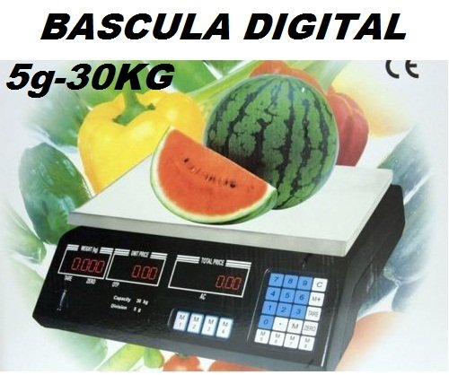 BASCULA DIGITAL COMERCIAL. DIGITAL PARA COMERCIO. 30KG.