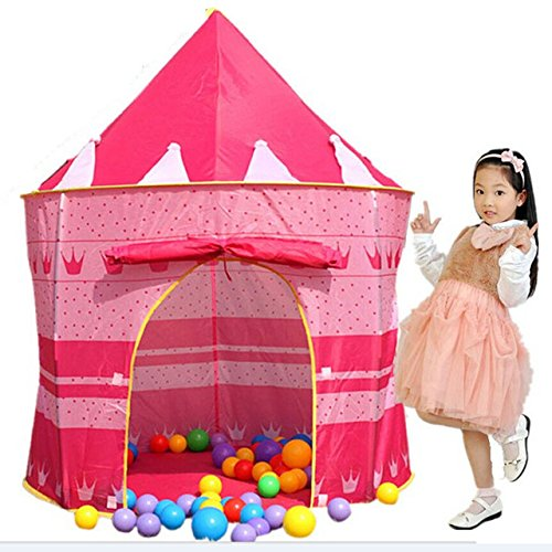 Loisleila Portable Foldable Play Tent Prince Folding Tent Kids Children Boy Castle Cubby Play House Kids Gifts Outdoor Toy Tents(Pink) price