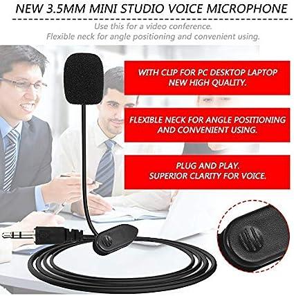 N//V New Mini Portable 3.5mm Mini Studio Speech Mic Microphone Clip for PC Desktop Notebook Lectures Teaching Mic Black Black