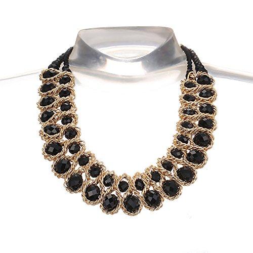 AWAYTR Ladies Choker Necklace Gold Tone Fashion Statement Big Multi Color Crystals Black