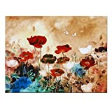 Wieco Art - Blooming Poppies Extra Large Modern Gallery Wrapped Contemporary Flowers Giclee Canvas Print Floral Paintings Reproduction Pictures on Canvas Wall Art Work for Home Office Decorations