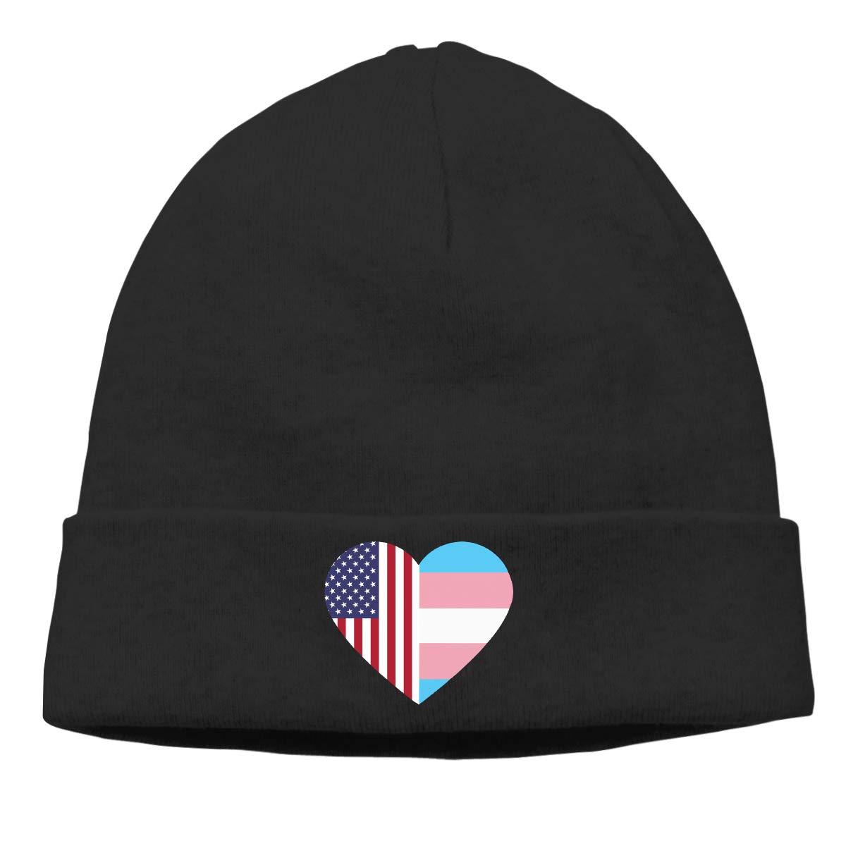 E6EP9E American Flag Transgender Pride Flag Heart Warm Skiing Skull Cap Mens Womens Baseball Thin Beanie