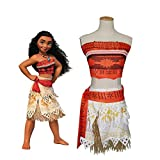 Peachi Moana Princess Adventure Costume Necklace Skirt Set Girls Cosplay Halloween Costume