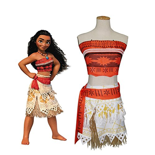 Sun Princess Costume (Peachi Moana Princess Adventure Costume Necklace Skirt Set Girls Cosplay Halloween Costume (8/10-140))
