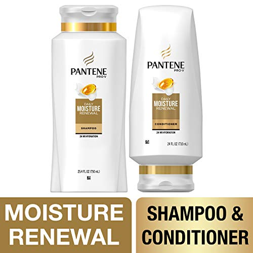 Pantene, Shampoo and Sulfate Free Conditioner Kit, Pro-V Daily Moisture Renewal for Dry Hair, 25.4 oz and 24 oz, -