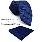 SHLAX&WING Unique Neckties for Men Checkered Plaids Blue Tie Set for Wedding