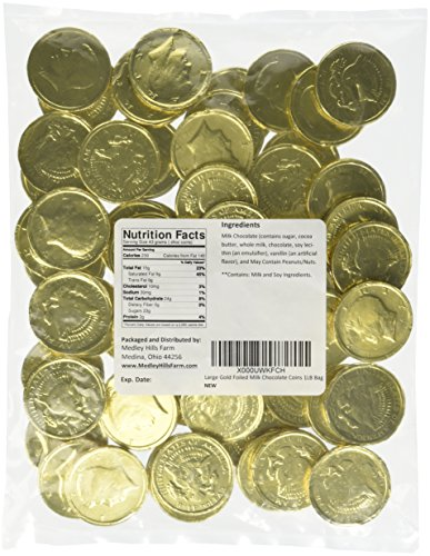 Large Gold Foiled Milk Chocolate Coins 1LB Bag