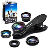 Phone Camera Lens 5 in 1 Kit, 2XTelephoto Zoom Lens+198°Fisheye Lens+0.63XWide Angle Lens