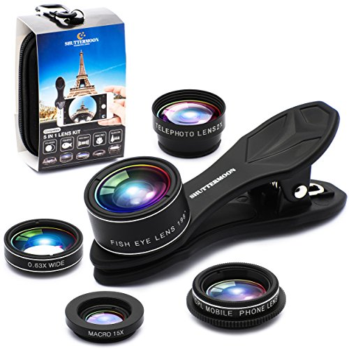 Phone Camera Lens 5 in1 Kit for iPhone Xs/R/X/8/7/6s Pixel, Samsung. 2xTele Lens Zoom Lens+198°Fisheye Lens+0.63XWide Angle Lens &15XMacro Lens+CPL Smartphone.Android. Cell Lens for iPhone Lenses Kit
