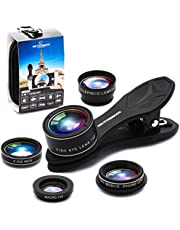 Phone Camera Lens 5 in1 Kit for iPhone Xs/R/X/8/7/6s Pixel, Samsung. 2xTele Lens Zoom Lens+198°Fisheye Lens+0.63XWide Angle Lens &15XMacro Lens+CPL Smartphone.Android. Cell Lens for iPhone Kit (5in1)