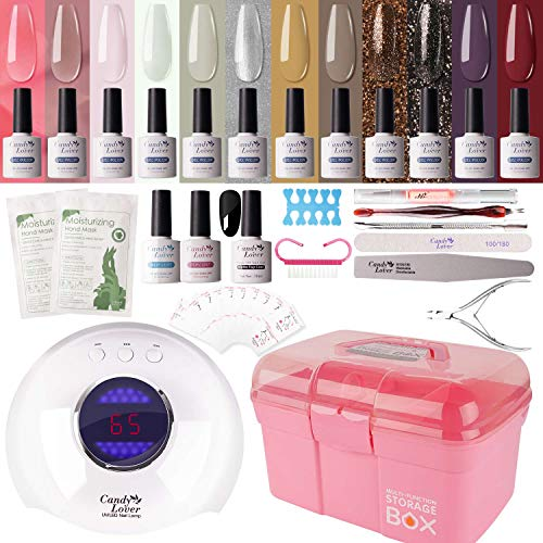 Gel Nail Polish Kit with 36W Lamp - Candy Lover 10ml Vintage Colors with Base Top Coat Matte UV/LED Nail Gel Polish Set, Winter Spring Nail Art Accessories Free Storage Box Starter Gift SK-05