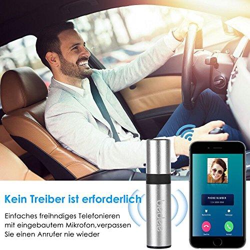 Bluetooth Receiver, bedee Mini Bluetooth Empfänger 3.5mm Drahtlos Adapter Built-in Microphone Unterstützung Freisprecheinrichtung für KFZ Autoradio / Lautsprechersystem / Kopfhörer / TV / Handy Audiogeräte + Stereo Audio Kable ( Silber )