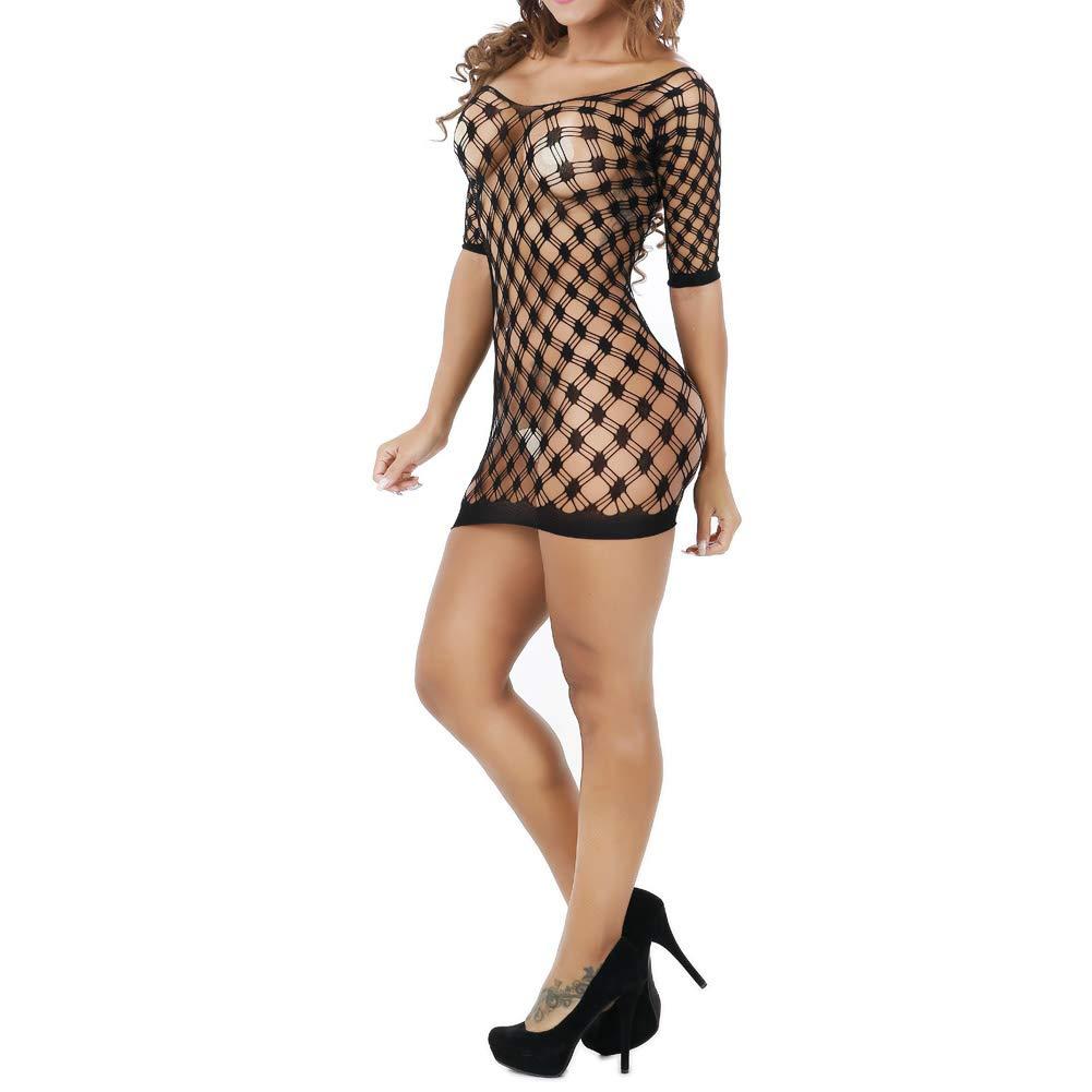 KHUFUZI Women\'s 2 Colors Pack Mesh Fishnet Lingerie Plus Size Babydoll High Elasticiy Bodystocking