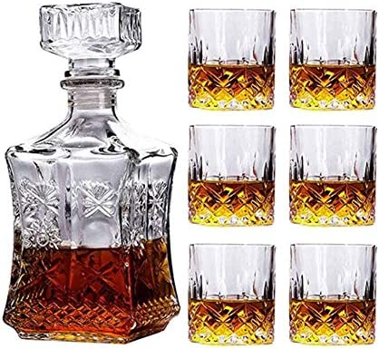 GJX Juego de Jarras y Vasos de Whisky Conjunto de vinos de Vidrio de Whisky, Botella de Vino de Girasol Cuadrada + 6 Gafas de Whisky