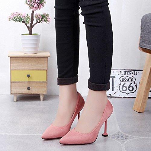 satinado finos 39 pro 10cm zapatos Xue altos trabajo zapatos Rosa singles de 10cm salvajes zapatos Qiqi tacones con negro femeninos Fw1zwWqtB