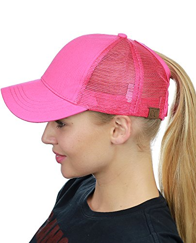 3d4936ef1 C.C Ponycap Messy High Bun Ponytail Adjustable Mesh Trucker Baseball Cap Hat,  Hot Pink