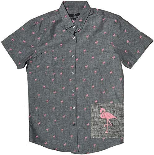 - Official Molokai Shirts (Flamingo Pattern (Grey), Large)
