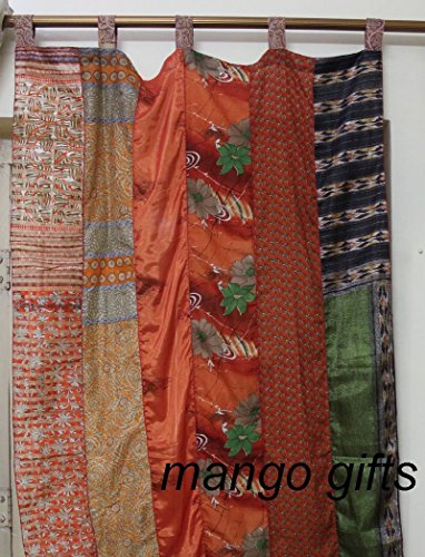 India Old Sari Multicolor Curtain Door Drape