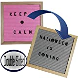 Felt Letter Board | Changeable Reversible Pregnancy Baby Announcement Sign Board with 680 Small Number Symbol Mini Emoji | 10x10 Inches | Text Now on Message I Really Don't Care (Pink/Gray)