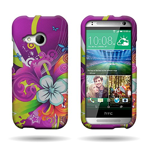 HTC One Remix / HTC One Mini 2 Flower Design Case by CoverON, Hard Protector Snap On Slim Case [with Cover Removal Tool] - (Purple Floral - Remix Purple