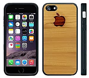 Apple iPhone 6 Black Rubber Silicone Case - Applewood Wood Pattern with burned in Apple Logo