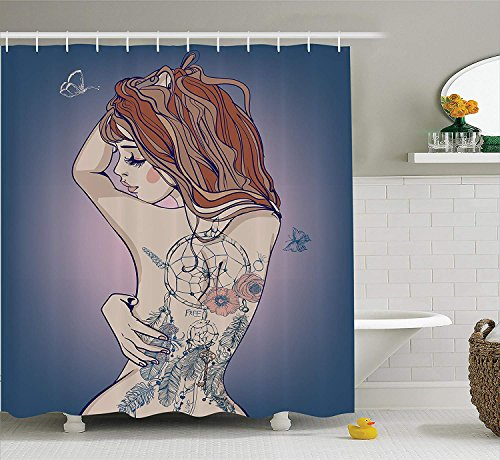 Girly Decor Collection, Sexy Woman Posing with Tribal Dreamcatcher Tattoos on Her Back Nudity Human Body Graphic Work, Polyester Fabric Bathroom Shower Curtain, 84 Inches Extra Long, -