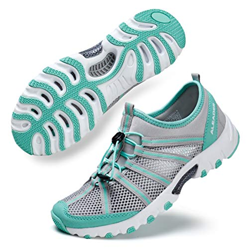 ALEADER Water Hiking Shoes for Women, Outdoor, Camp, Kayaking, Wet/River Walking Sneakers Lt Gray/Aqua 11 B(M) US