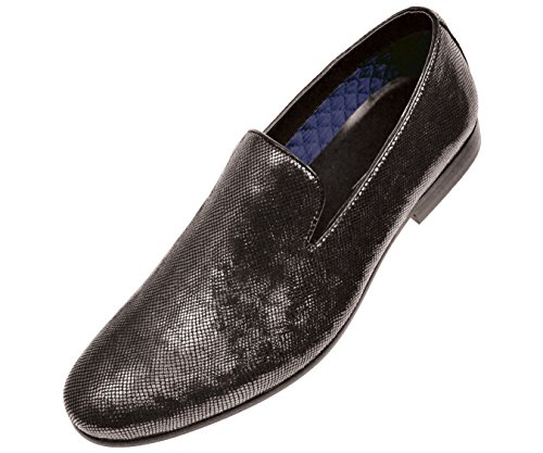 Amali Mens Classic Black Metallic Smoking Smoking Slip On Dress: Stile Ashby-000