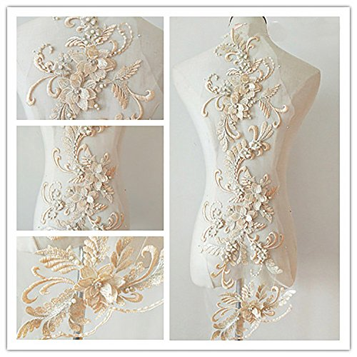 3D beaded flower sequence lace applique motif