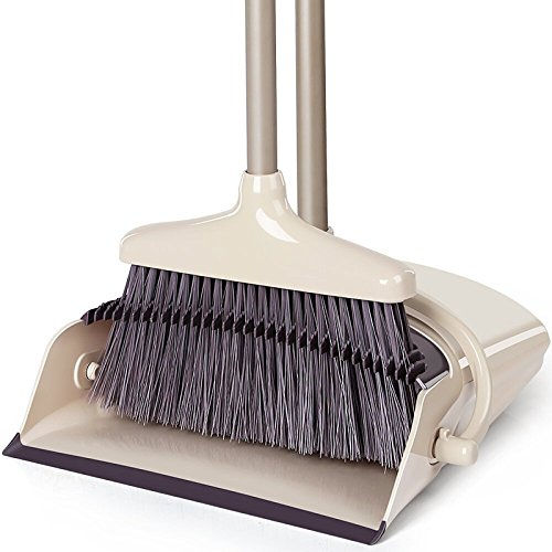 Broom and Dustpan Set, Treelen Broom with Dust Pan with Long Handle Combo Set for Office and Home Standing Upright Sweep Use with Lobby Broom (Pan Upright Broom Dust)