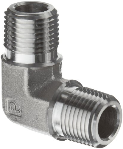 - Parker Stainless Steel 316 Pipe Fitting, 90 Degree Elbow, 1/4